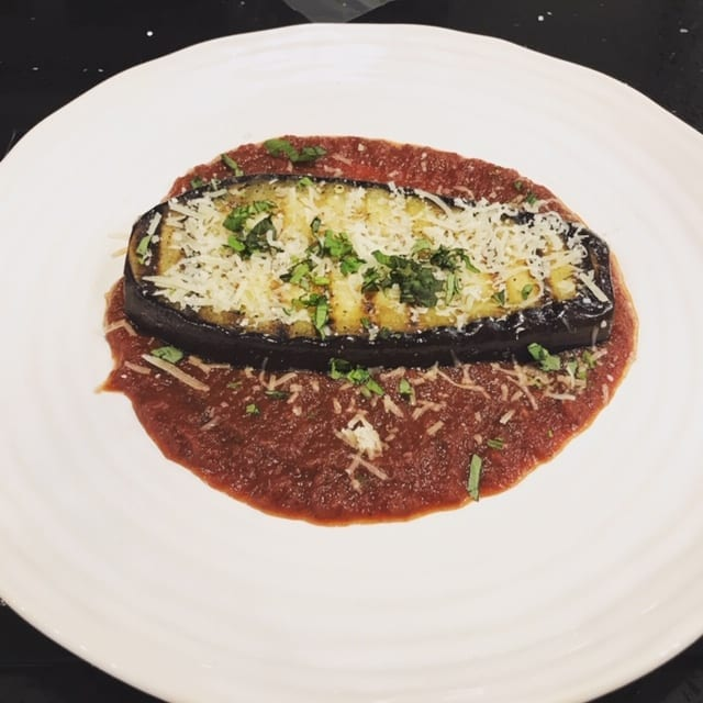 aubergine steak veg