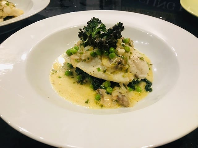 Steamed plaice fish dish