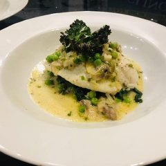 Steamed plaice fish dish